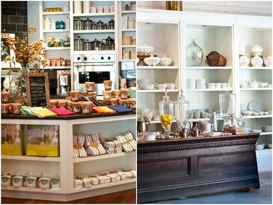 Tyler Florence Shop in Mill Valley, CA.  Love this for my kitchen- open white shelves, dark wood island, great glass vases, white ceramics <3