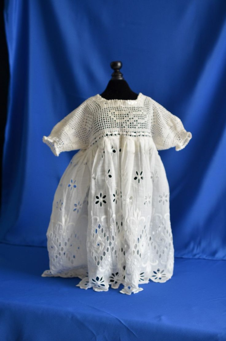 Vintage Baby Girl Dress - Crochet top & puff sleeves,  from 1940's bottom of dress is eyelets never worn by MadeByGrandmasHands on Etsy