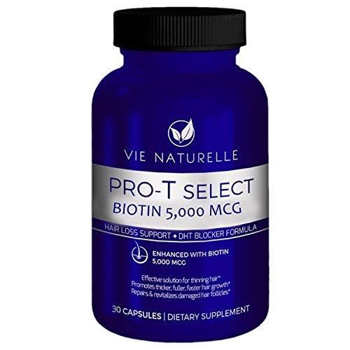 Vie Naturelle Biotin For Hair Growth 5000 MCG - Super Potency Hair Loss Vitamins (30 Day Supply)
