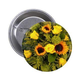 Orange Yellow Sunflower Roses Floral Bouquet Button