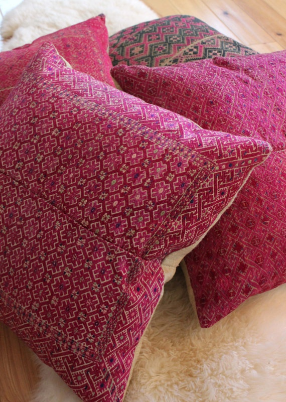 Vintage Embroidered Tribal Pillows, Natural Linen Back