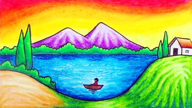 easy draw drawing oil scenery lake pastel simple step drawings nelayan nature danau dan pastels mewarnai naik gunung perahu seorang