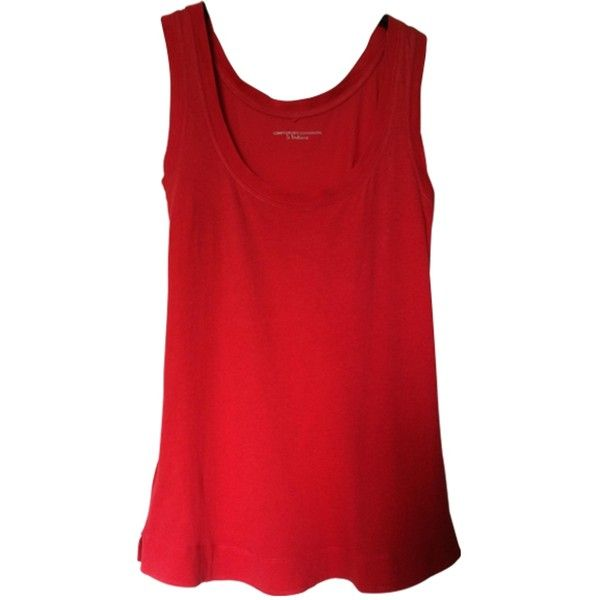 Pre-owned COMPTOIR DES COTONNIERS RED TANKTOP ($28) ❤ liked on Polyvore featuring tops, red tank, red tank top, red singlet, red top and comptoir des cotonniers