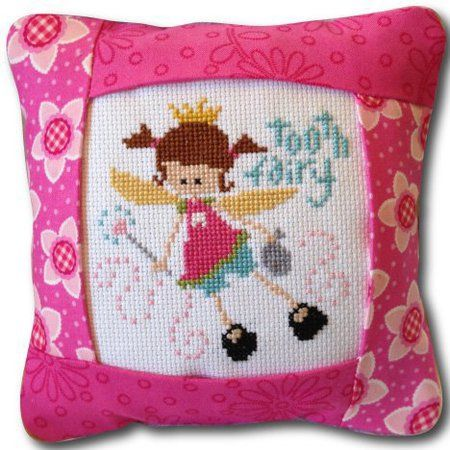 Pine Mountain Designs Tooth Fairy Pillow (Pink Version) - Cross Stitch Kit. Cross Stitch Kit contains pre-sewn 6 3/4 square pillow with a pocket sewn in the bac