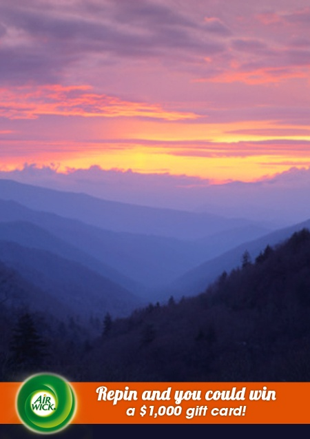 Aromatic #sunset in the majestic #GreatSmokyMountains. Visit link for sweepstakes information: https://www.airwick.us/repin_to_win.php