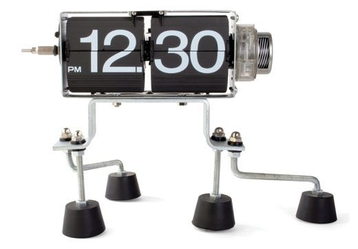 Flip Clock  When activated the numbers flip. The legs are movable giving the illusion the clock is walking. All the interior gears are visible as they spin and whirl making this piece a real eye catcher.  $99.00