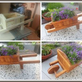 Wheelbarrow Planter Made Out Of Pallet Wood