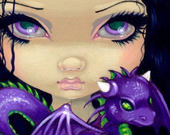 Faces of Faery 142 purple dragonling big eye fairy by strangeling