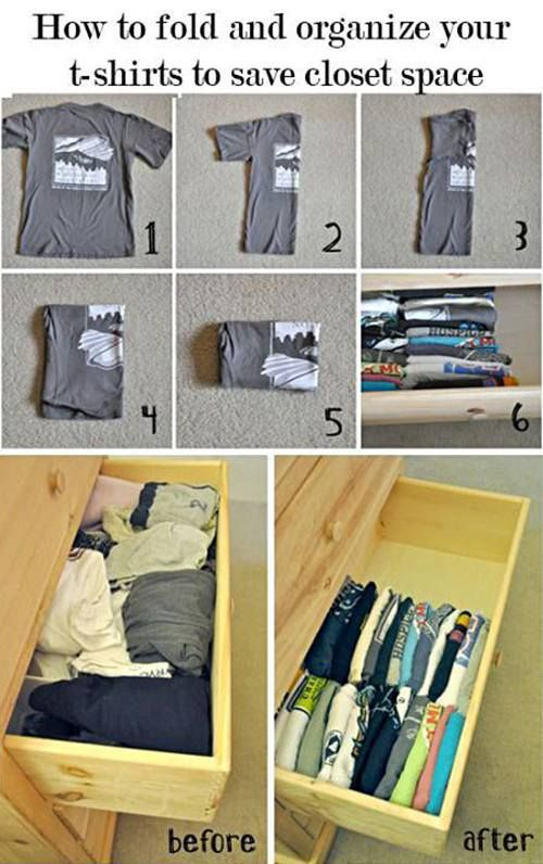 folding shirts to save space