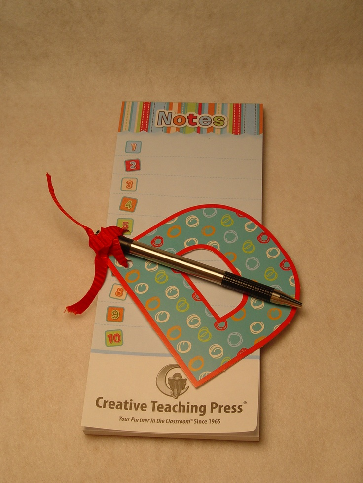 """Great Father's Day gift idea for a task-master dad! CTP's new Magnetic Notepad is great for the office or around the house. Personalize it with 4"""" Dots on Turquoise Designer Letters, a pen, and some bright ribbon.Father'S Day Gifts, Crafts Ideas, Schools Ideas, Gift Ideas, Fathers Day Gift, Appreciation Gift, Dots, Dads, Pens"""