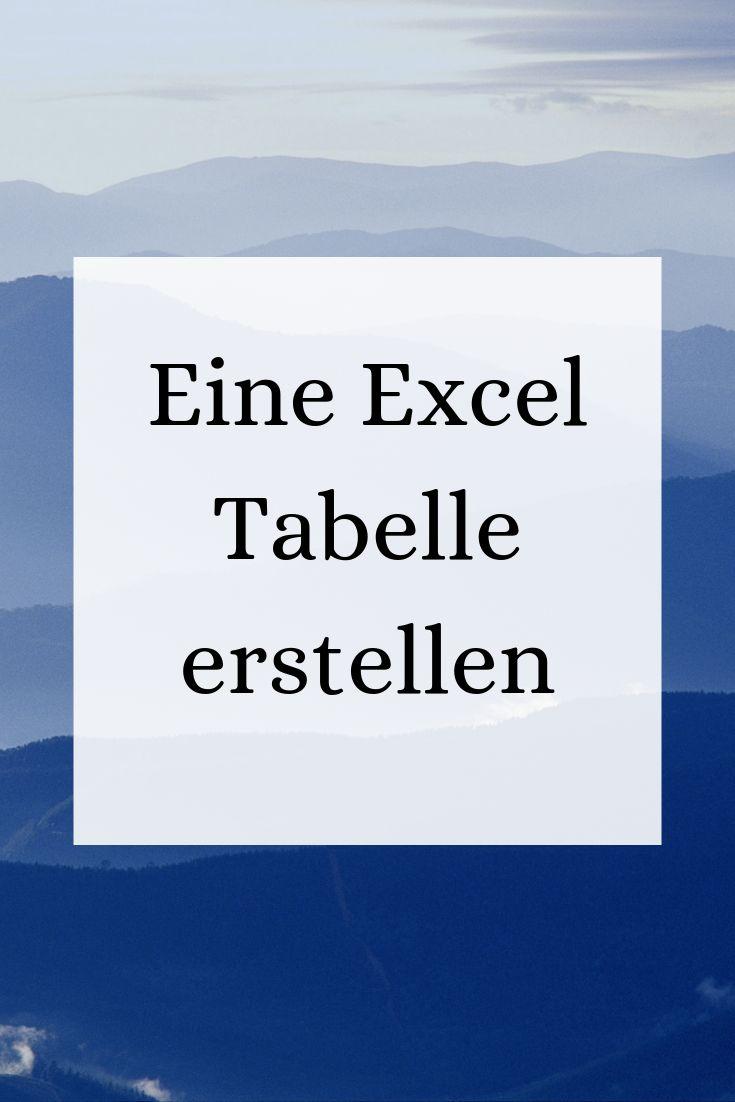 Eine Excel Tabelle erstellen