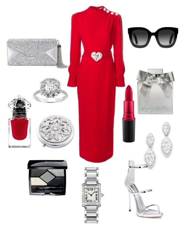 """""""Lady in Red ♡"""" by extravagantf on Polyvore featuring Guerlain, MAC Cosmetics, Gucci, Alessandra Rich, Bloomingdale's, Giuseppe Zanotti, BCBGMAXAZRIA, Ralph Lauren, Christian Dior and Frontgate"""
