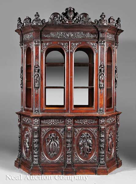 American Renaissance Carved Oak Cabinet, C., Attributed To Alexander Roux,  New York,