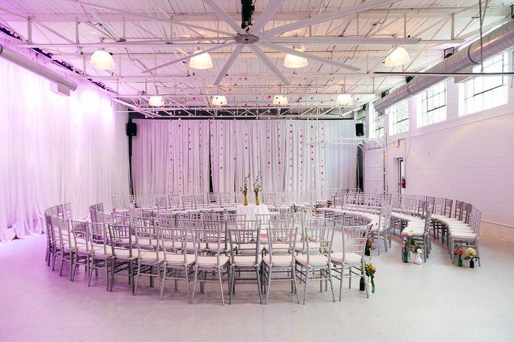 weddings at airship37 - Spiral Ceremony Seating