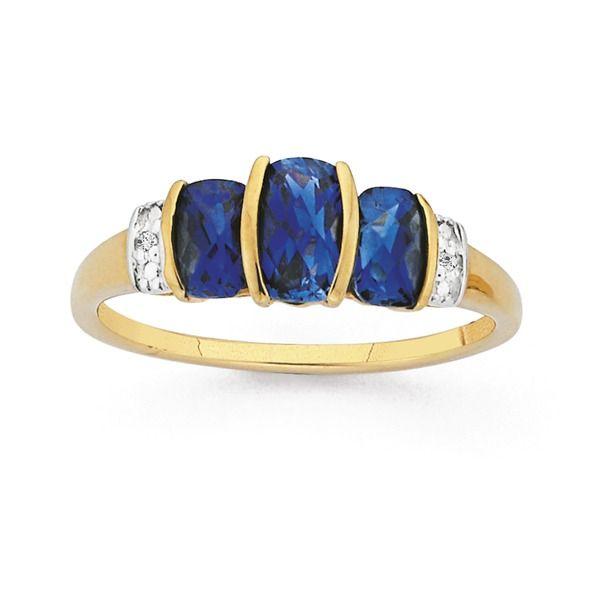 9ct Gold Created Sapphire & Diamond Semi Bezel Cushion Cut Ring