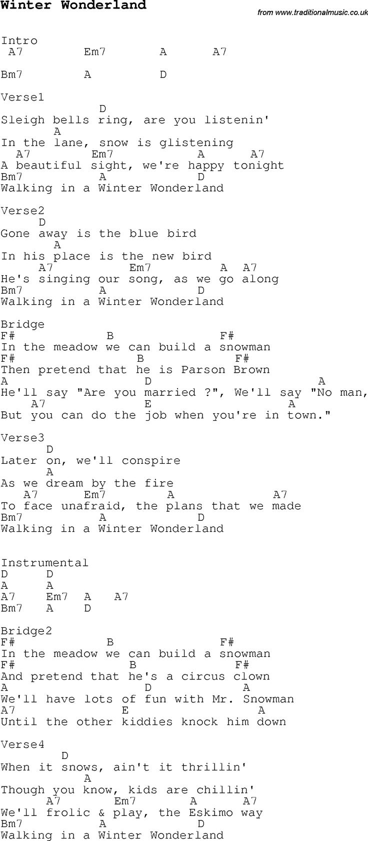 Christmas Songs and Carols, lyrics with chords for guitar banjo for Winter Wonderland