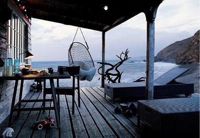 Porch to Rustic Beach House... w/ swing... a view. http://dreamhousecammy.blogspot.com/2008_05_01_archive.html