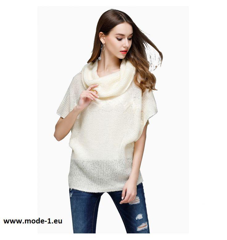 Kurzarm Damen Pullover in Weiß