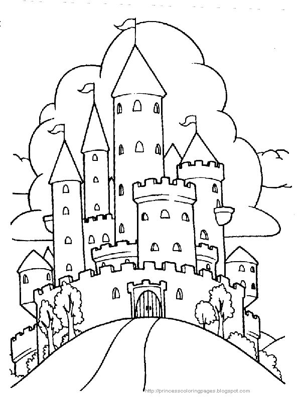 coloring pages of castles with draw bridge | ... and large - then print the castle coloring page up and color it in