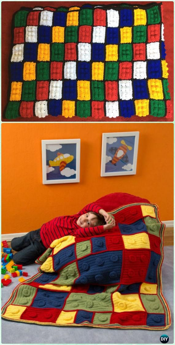 Ganchillo del bloque hueco de Lego del bloque Manta Patrón libre - Crochet Manta bloque Patrones gratis
