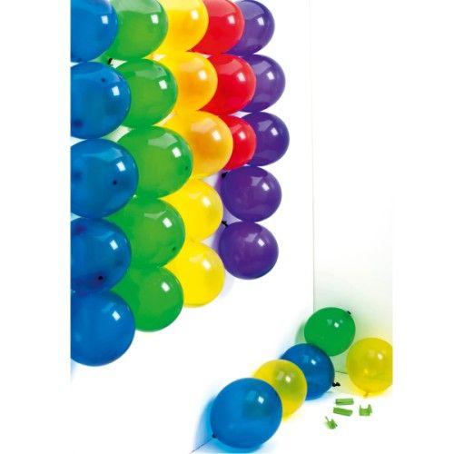 """""""Happy Surpriz"""" propose aux enfants, invités à un goûter d'anniversaire, de s'affronter en réalisant des gages. Les 32 ballons sont accrochés au mur. Les enfants constituent deux équipes et doivent, à tour de rôle, réaliser un gage tombé du ballon qu'il viennent de percer. Cela peut être """"Dis cinq fois panier / piano sans te tromper"""" ou """"Imite une danseuse étoile."""" Voici une véritable Happy Surpriz !"""
