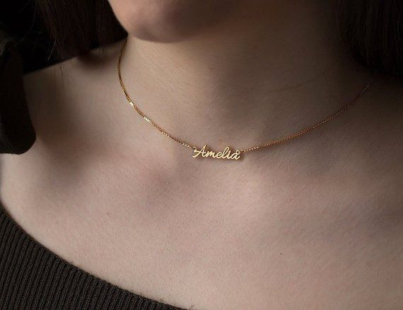 Personalized Birthstone Name Necklace,Custom Gold Name Necklace,Dainty Necklace,Personalized Name Jewelry,Necklaces For Women,Birthday Gift