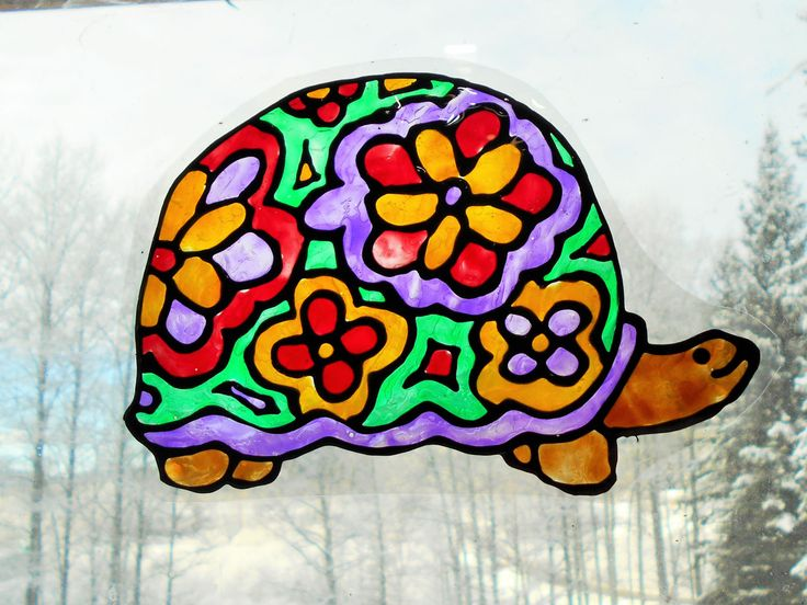 """Hippie Turtle Stained Glass Window Cling Suncatcher, Hand Painted 6"""" Static Clings Art, Window Paintings, Turtles, Sure 2 Fit Gift by Dare2beUNIQUE on Etsy"""