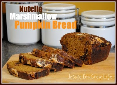 Nutella Marshmallow Pumpkin Bread: Pumpkin Breads, Sweet, Yummy Food, Nutella Pumpkin, Pumpkins, Marshmallows Cream, Nutella Marshmallows, Marshmallows Pumpkin, Brucrew Life
