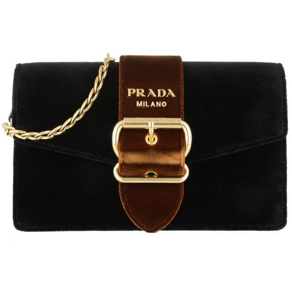 Prada Shoulder Bag - Crossbody Bag Velvet Nero + Ruggine - in black -... (8322725 PYG) ❤ liked on Polyvore featuring bags, handbags, shoulder bags, black, shoulder tote bags, logo tote bags, prada purses, prada shoulder bag and prada tote bag