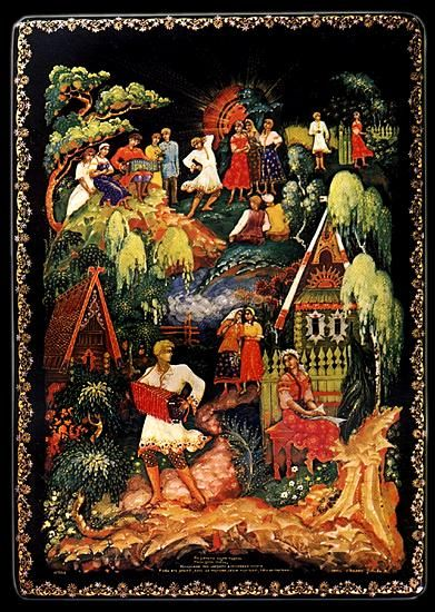 "Zubkova T. I. ""And who knows"",1946,box. Palekh miniature (Russian: Палехская миниатюра) is a Russian folk handicraft of miniature painting, which is done with tempera paints on varnished articles made of papier-mâché (small boxes, cigarette and powder cases etc.). Palekh Russian lacquer art on papier-mâché first appeared in 1923 in the village of Palekh, located in the district of (Ivanovo Oblast), and is based on a long local history of icon painting..."