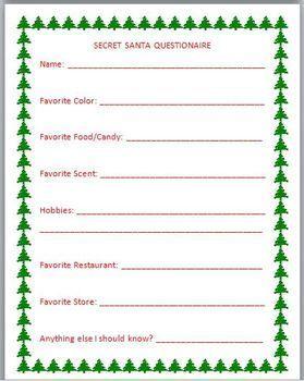 women's secret santa questionnaire templates Google