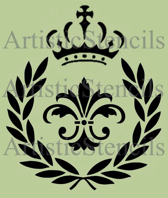 laurel leaf crown template - stencil laurel wreath fleur de lis with crown by