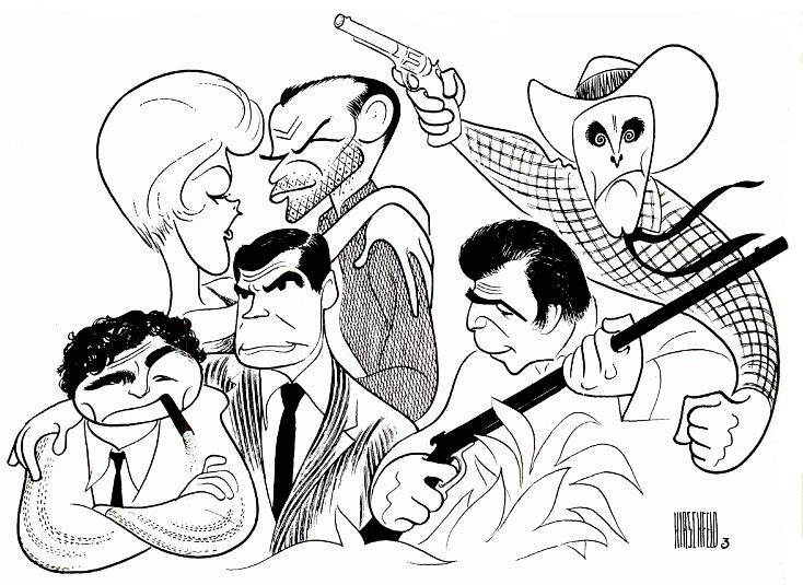 "Al Hirschfeld ~ WNBC-TV4's ""Movie 4"": Peter Falk and Gene Barry in ""Prescription: Murder,"" Frank Sinatra and Kim Novak in ""The Man with the Golden Arm,"" Anthony Franciosa in ""The Deadly Hunt,"" and Kirk Douglas in ""The Last Train from Gun Hill"""