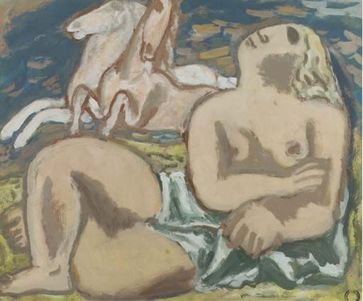 Leo Gestel, Reclining nude with white horses