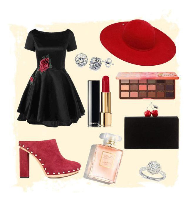 """""""Red&Black"""" by spookie1 on Polyvore featuring Proenza Schouler, Ilariusss, Edie Parker, BERRICLE, Zac Posen, Chanel and Too Faced Cosmetics"""