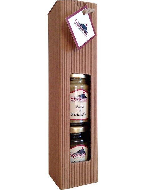Tris di prodotti artigianali al pistacchio: crema, pesto e croccantino