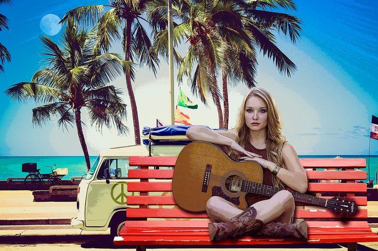Donna, Spiaggia, Mare, Chitarra, Musica, Pace, Bionda