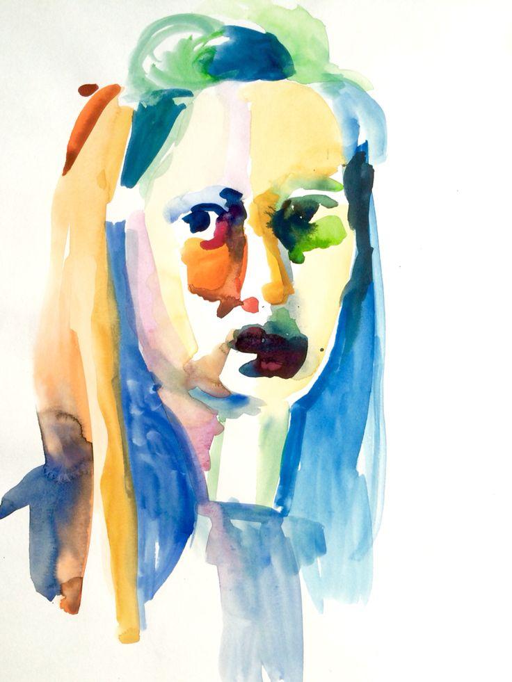Portrait by Marie Åhfeldt, Mås Illustra. www.masillustra.se #illustration #watercolour #portrait #girl