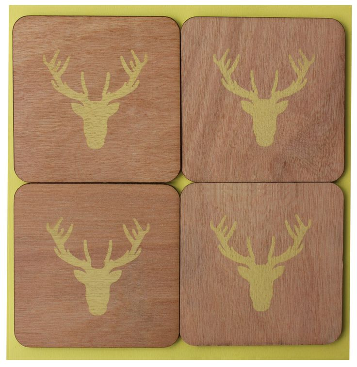 yellow deer coasters by CutOutsProductDesign on Etsy