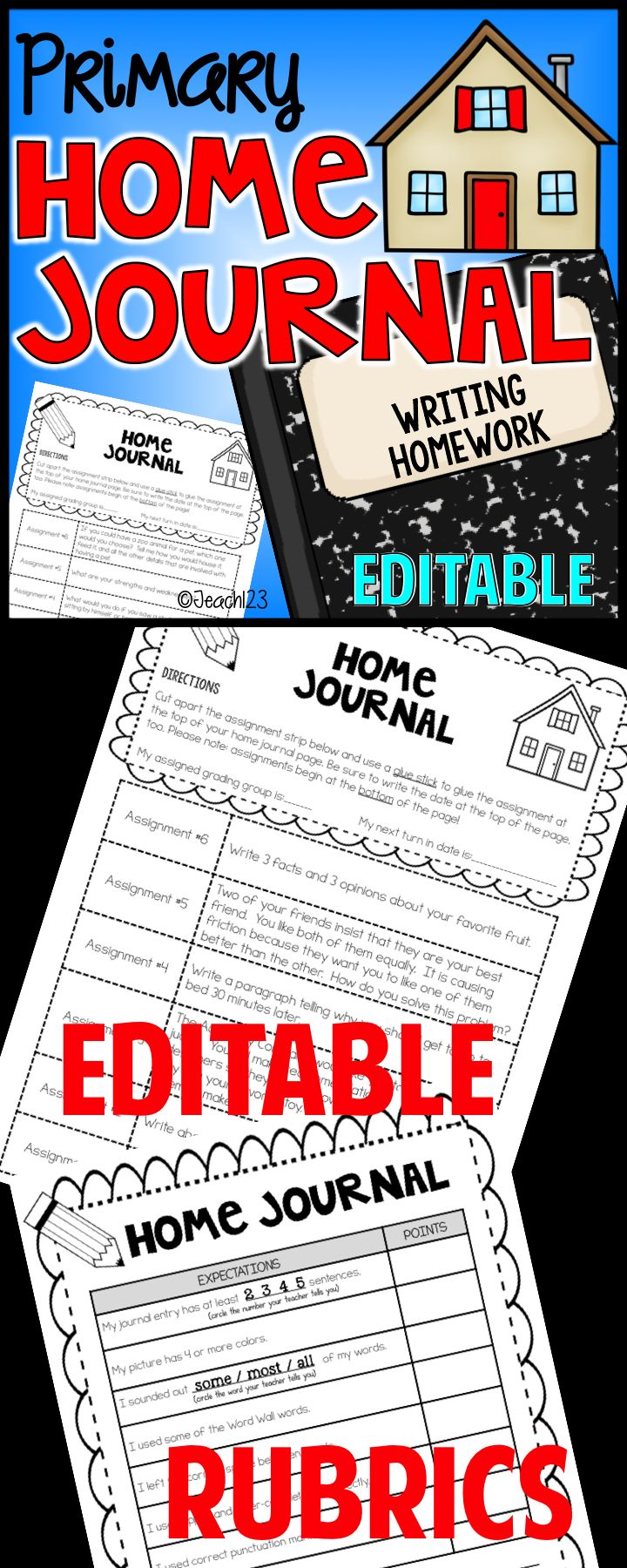 1st - 2nd Grade Writing Homework: Show growth in your students' writing using the First and Second Grade Writing Homework Journal program. This is the perfect way to strengthen your primary students' writing skills. There are ten months worth of assignments, plus four seasonal assignments and 3 extra assignments. The composition book of home journal entries make a wonderful portfolio show your students' growth! paid