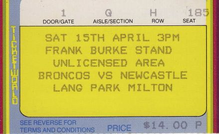 Broncos vs Newcastle, Lang Park, Brisbane 1989.