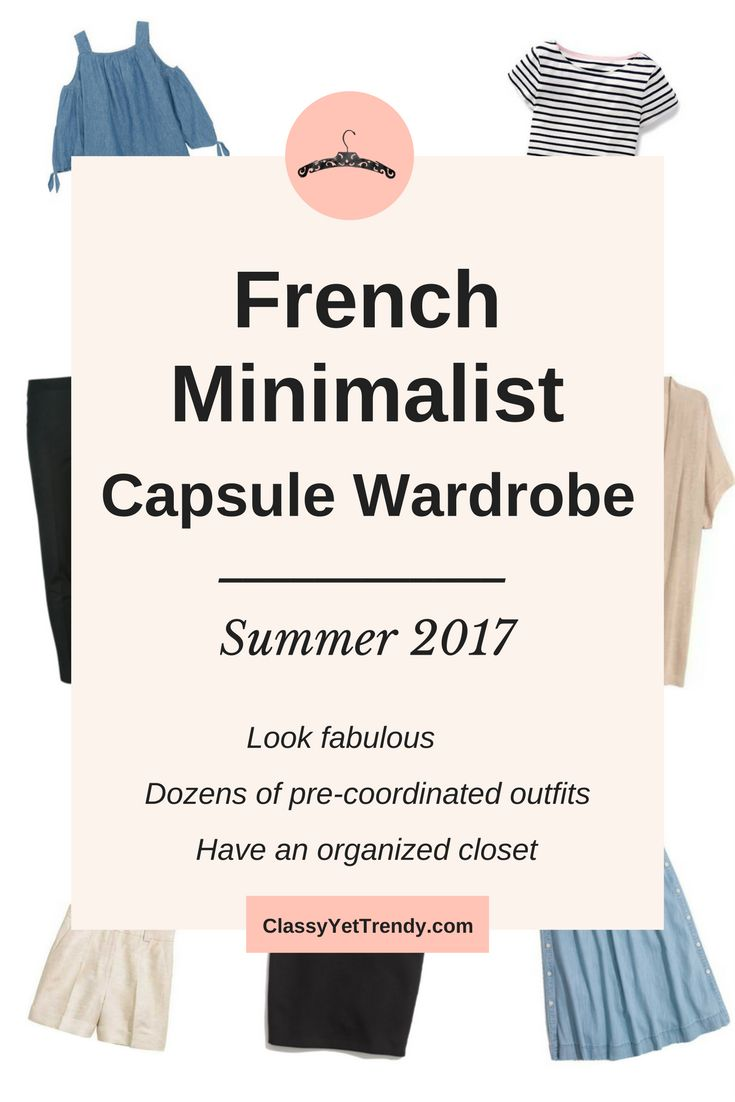 French Minimalist Summer 2017 Capsule Wardrobe - Transform your closet with this e-Book. It will show you how to mix and match clothes and shoes to create for dozens of outfit ideas that you will love! You probably have several of these clothes and shoes in your closet already. Create the closet of your dreams today with this handy guide!  Featured are a cold shoulder top, striped top, linen shorts, black pencil skirt, chambray skirt, short sleeve cardigan, ankle pants, skinny jeans, white…