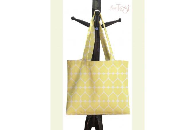 Yellow heart print tote bag by Tesi on hellopretty.co.za