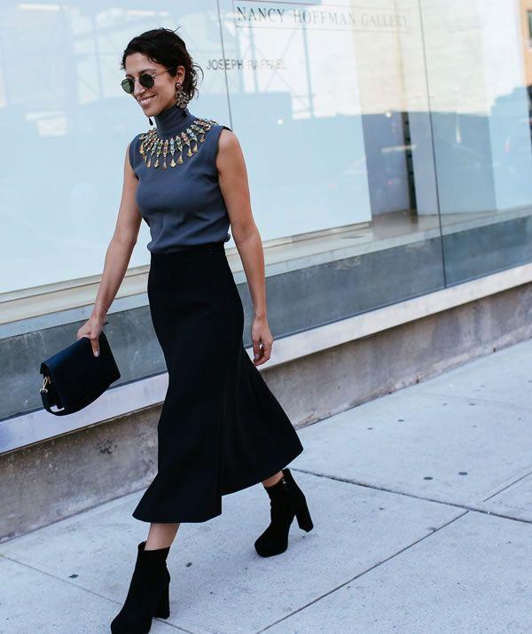turtle neck midi skirt