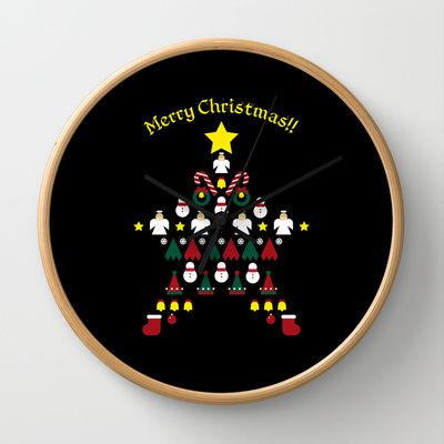 FLAT CHRISTMAS series -CHRISTMAS STAR_B Wall Clock by SEOL.D - $30.00