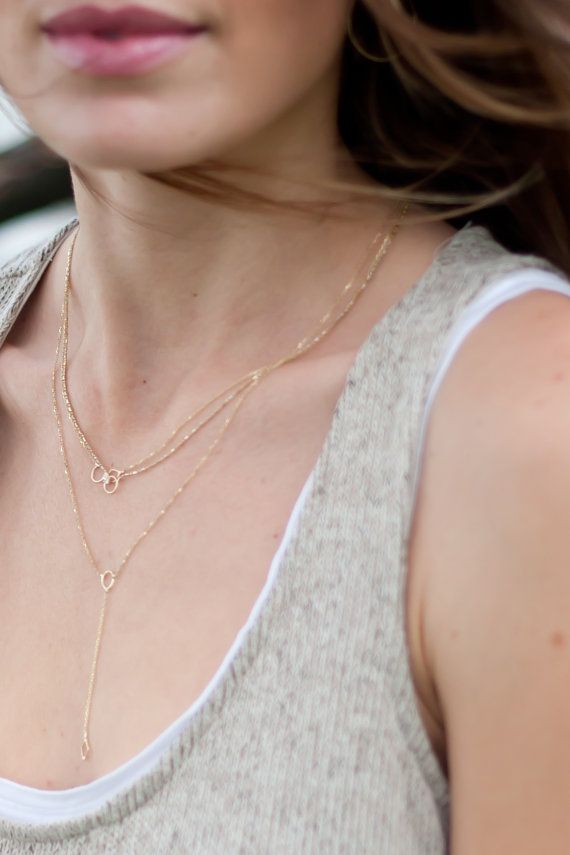 tracy sylvia 14 kt gold Bre lariat necklace, Alli necklace, and the diamond Kristen necklace. Layered for the perfect summer look.