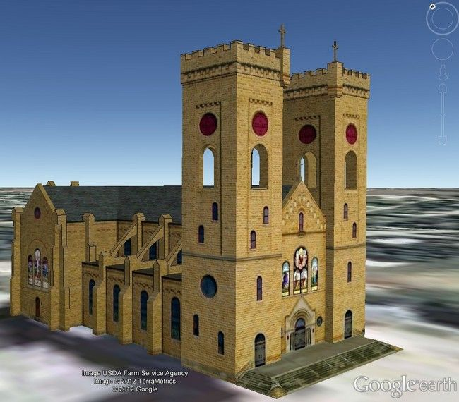 3D Google-Earth - South West Side St. John's Catholic Church, Beloit, KS. http://simplicityhumilitytrust.org