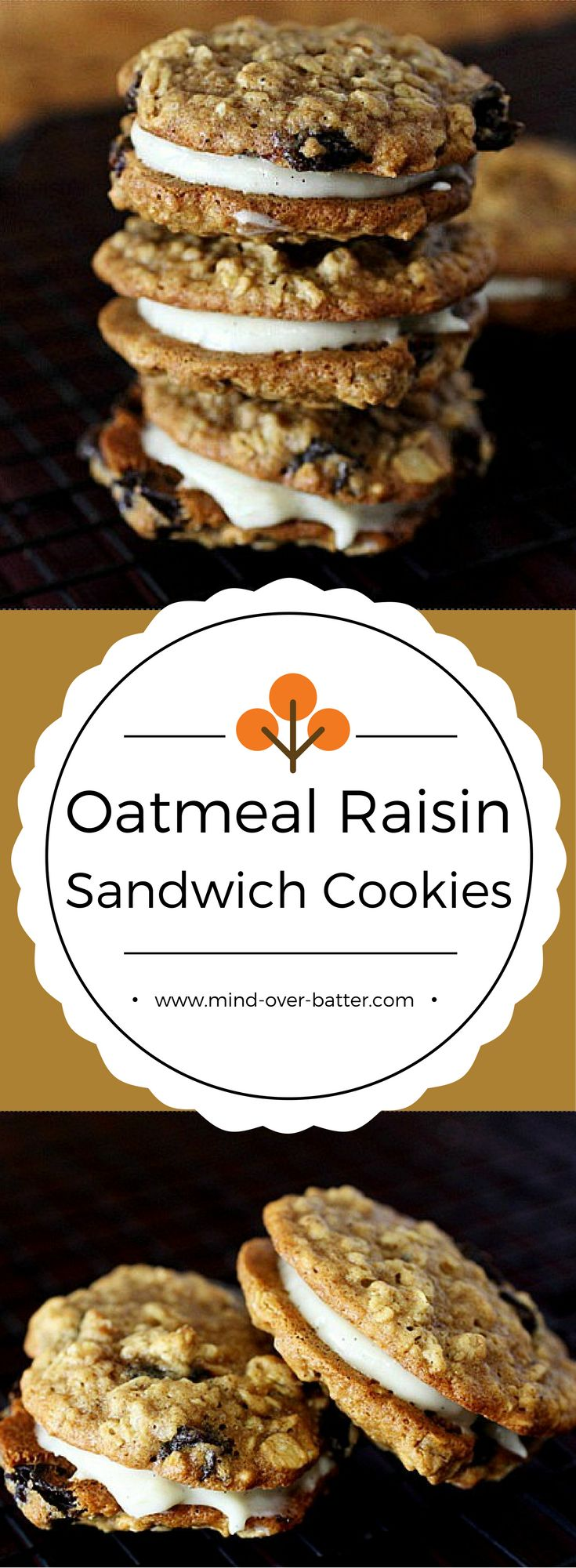 These Oatmeal Raisin Sandwich cookies are EVERYTHING!!! Two soft-baked oatmeal cookies are mixed with plump raisins and sandwiched between a creamy vanilla flavored cream cheese frosting! Try 'em!  www.mind-over-batter.com