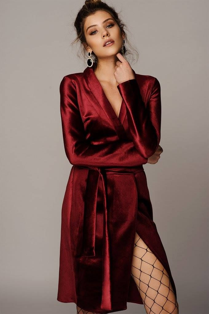 BURGUNDY VELVET TRENCH DRESS