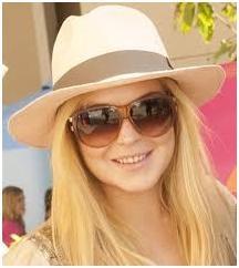 Lindsay Lohan in Cream Colored Panama Hat
